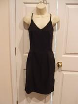 new in pkg newport news tiny pinstripe little black dress sheath slip size 6 - $28.71