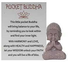 Gnz 1.5 Inch Pocket Buddah Charm/Shelf Sitter with Story Card (Faith) - £3.34 GBP