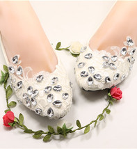 Embellished shoes Brides flats ivory Women's Wedding Shoes UK Size 2,3,4,5,6,7,8 - $38.00