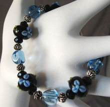 Black Lampwork Glass, Blue Flower, Bracelet, 8 in. - $28.00