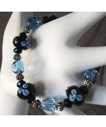 Black Lampwork Glass, Blue Flower, Bracelet, 8 in. - $29.00