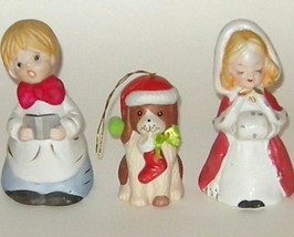 Three Porcelain Christmas Bells Boy Dog Puppy Girl MWC 1980 - $12.00