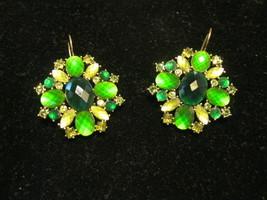 EMERALD GREEN Rhinestone and Glass Pierced EARRINGS in Gold-Tone - 1 3/4... - £23.15 GBP