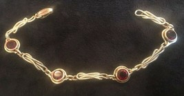Vintage 12 K Gold Filled Red Stone Bracelet - $41.90