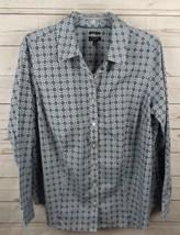 Talbots Shirt Top Size 14W Blue Black Medallion Wrinkle Resistant - $18.99