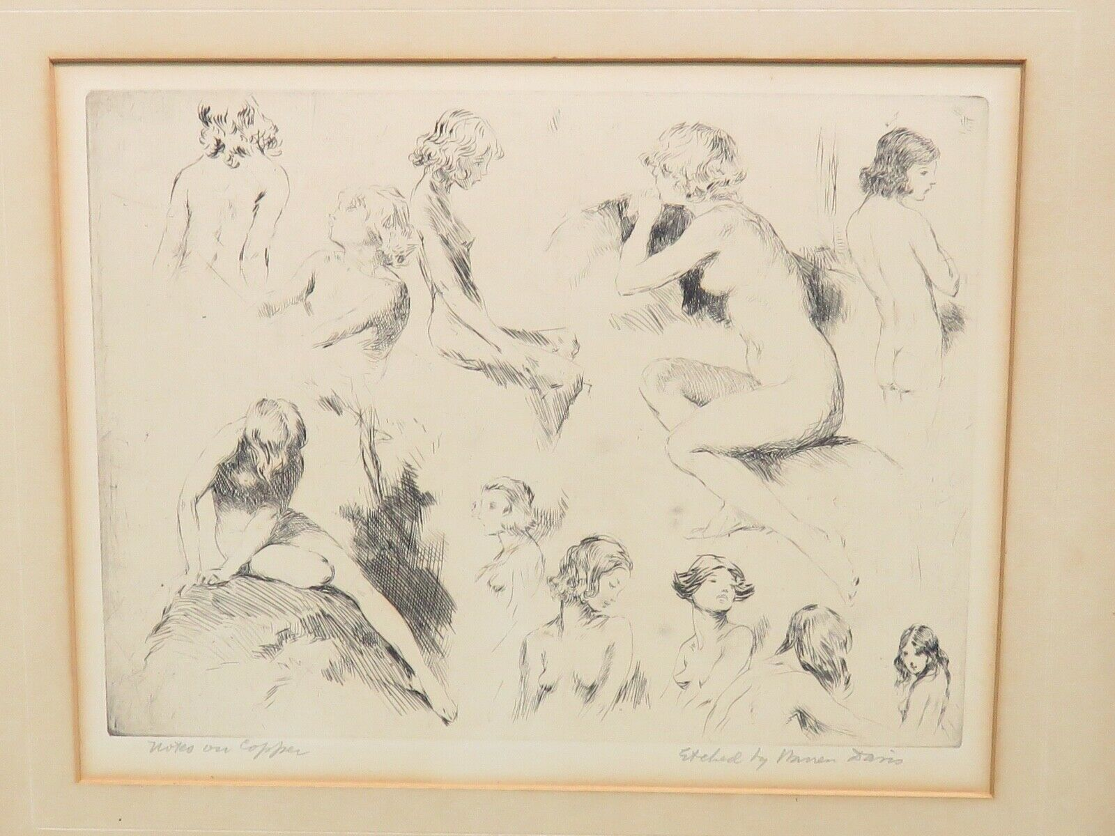 Primary image for Warren Davis Etching Notes on Copper Pencil Signed Nude Study Women Listed