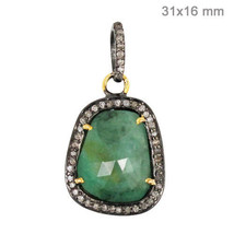 Emerald Gemstone Pendant Sterling Silver Pave Diamond 14 K Gold Handmade... - $266.48