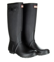Hunter Black Ribbed Leg Wellington Boots 9 Men 10 Women - $1.583,19 MXN