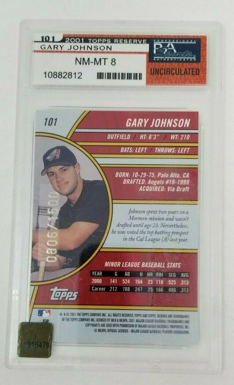 Signed 2001 Topps Reserve Anaheim Angels Gary Johnson Rookie Card