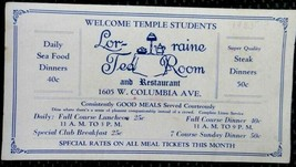 1935 vintage LORRAINE TEA ROOM & RESTAURANT philadelphia pa ADVERTISING ... - $37.95