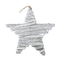 "Kaemingk 12"" Winter Light Silver Rattan Hanging Star Christmas Window Decor - $10.63"
