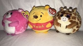 TY Beanie Ballz Winnie the Pooh Disney, Tippy Giraffe & Tumbles Hamster ... - $15.83