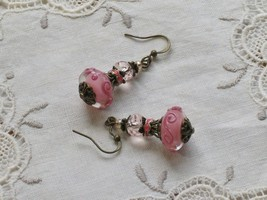 Lampwork Glass Beads - Vintage Style Earrings - Dangle Drop Earrings - $17.80