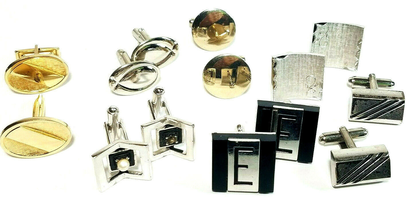 Lot of 7 Sets Vintage Men's Cuff Links SEE PHOTOS FOR DETAILS