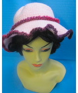 Handmade Crochet Fun Sun Hat White Poodle Dog on Pink - $27.00
