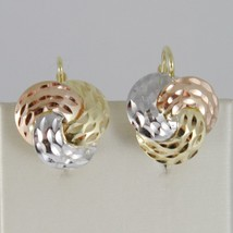 18K YELLOW ROSE WHITE GOLD EARRINGS THREE ALTERNATE WORKED WAVES MADE IN ITALY image 1
