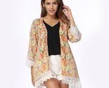A blouses loose chiffon kimono cardigan floral lace hem long sleeve beachwear boho thumb155 crop