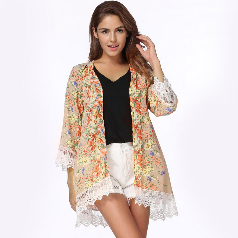 E women bohemia blouses loose chiffon kimono cardigan floral lace hem long sleeve beachwear boho