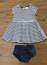Ralph Lauren Girls 18 M Navy White Striped Textured Dress - Pleated Skir... - $25.71