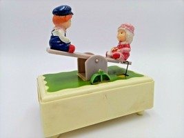 Vintage Yap's Plastic Musical Box Animated Swinging Boy And Girl Old Sum... - $22.51