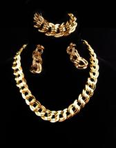Vintage Monet Parure/ huge chain necklace / Large gold bracelet / clip o... - $125.00
