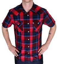 BRAND NEW LEVI'S MEN'S CLASSIC COTTON CASUAL BUTTON UP PLAID SHIRT 3LYSW6062-RED image 1
