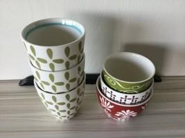 Starbucks  2010 Six 8 OZ Nesting Tea Cups Red White Green Handle Less J - $39.59