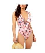 Bar III Crystal Floral Printed Ruffled Cross-Back Cheeky Swimsuit Pink M... - $43.56