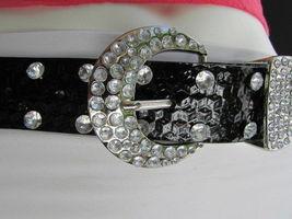 Damen Kunstleder Western Schwarz Gürtel Große Schleife Silber Perlen Schnalle image 6