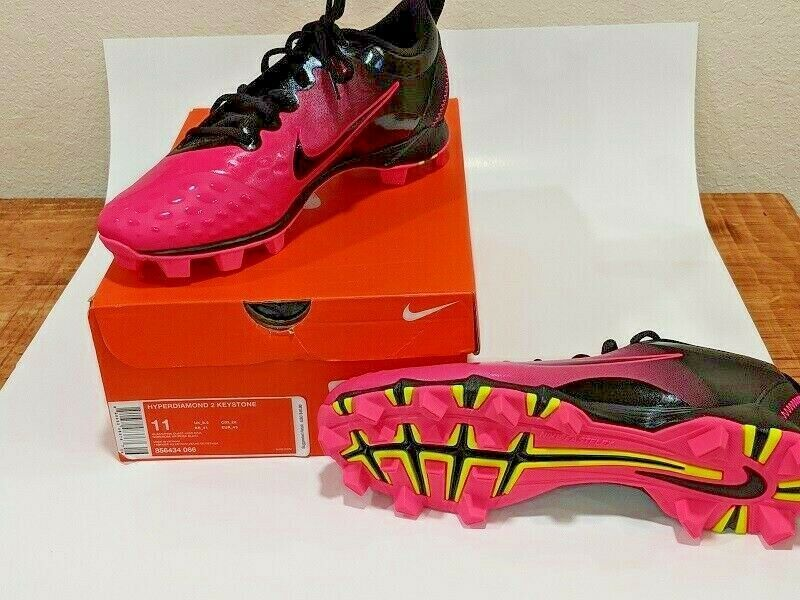 af0daaa31db NIKE Womens Hyperdiamond 2 Keystone Softball Cleats Pink Black 856434 NEW  5.5 6