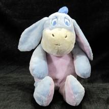 Disney Baby Pale Blue Eeyore Plush Rattle Sewn Eyes Crinkle Ears Lovie Lovey - $19.99
