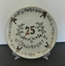 Enesco made in Japan 25th Anniversary Plate Silver Decor Bowls Bells Leaves  - $12.75