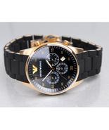 ARMANI AR5905 - MENS CHRONOGRAPH ROSE GOLD BLACK WATCH - $121.89