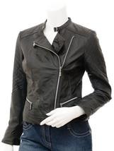 Women Leather Jacket Black Slim Fit Pure Lambskin Biker Moto Size S M L XL XXL - $146.61