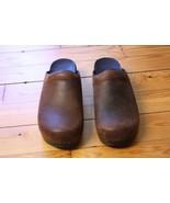 Dansko Sonja Cabrio 42 11.5 12 Antique Brown Oiled Leather Open Back Clogs - $68.40