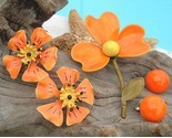 Vintage metal flowers orange brooch earrings sets enamel thumb155 crop