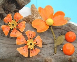 Vintage Lot Metal Flower Stem Pin Brooch Earrings Enamel Orange Yellow - $24.95