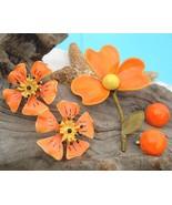 Vintage Lot Metal Flower Stem Pin Brooch Earrings Enamel Orange Yellow - $24.95