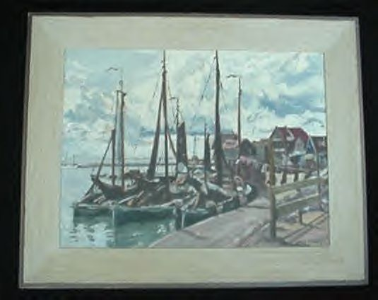 Old Jack Alger Oil Painting Docks & Boats Washington State Northwest Sea Coast