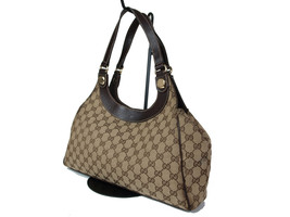 Authentic GUCCI GG Pattern Canvas Leather Browns Shoulder Bag GS14808L - $239.00