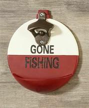 Gone Fishing Design Steel Bottle Opener - Red & White Poly Resin