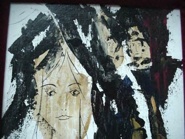 c.1972 A. Castro Retro Modernist Abstract Oil Painting