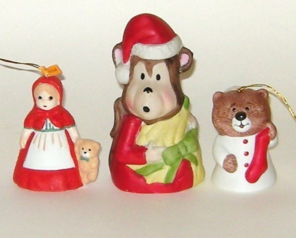 Jasco Taiwan Three Bisque Porcelain Christmas Bells Girl Monkey Cat