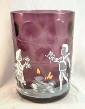 Mary Gregory Style Amethyst Thumbprint Tumbler Etched Hand Painted - $25.51