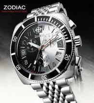 ZODIAC ZO2111 Men's Round Chrono DIVER Watch Steel Bracelet BLACK & SILV... - $732.70