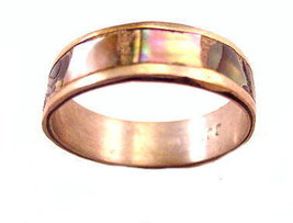 Vintage Sterling with Mother of Pearl Band Ring - $15.95