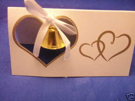 10 Wedding Place cards gold bell and double heart - $2.50