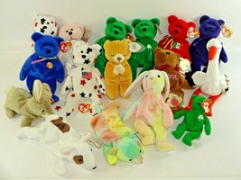 Lot of 15 Ty Beanie Baby Bears w/ Tags + March of Dimes Bear Hippie Samm... - $31.66