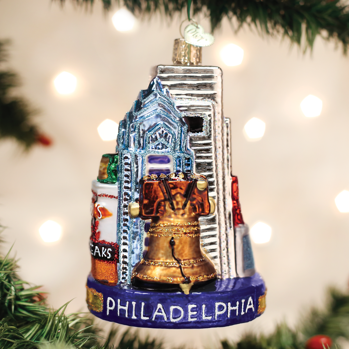 Primary image for OLD WORLD CHRISTMAS PHILADELPHIA THE CITY OF BROTHERLY LOVE GLASS ORNAMENT 20092