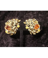 vintage gold tone Signed Coro amber rhinestone earrings clipon Downton A... - $18.00